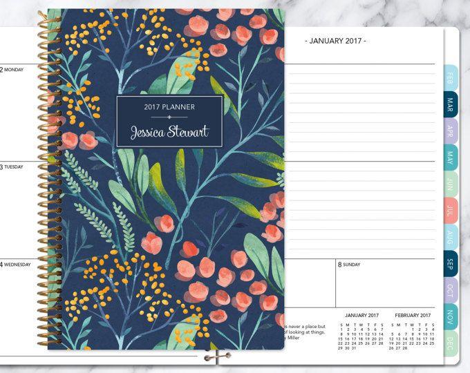2017-Planer 12 Monat Kalender | Fügen Sie monatliche Registerkarten Wochenplaner Student | personalisierte Planer Agenda | florale Navy Aquarell