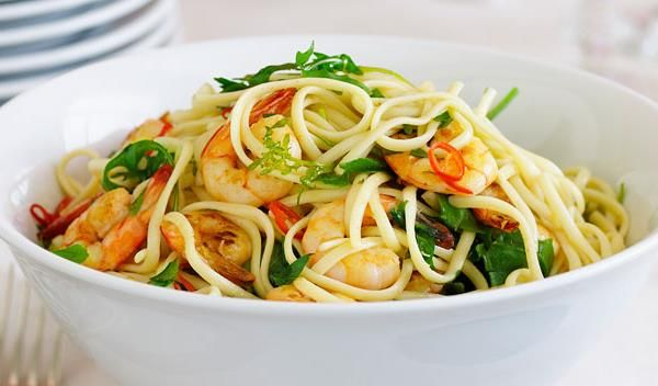 Chilli prawn linguine recipe - By Australian Women's Weekly, This recipe makes enough sauce for 500g pasta, to serve as a great first course for 6. Serve with crusty bread to mop up the last of the sauce.