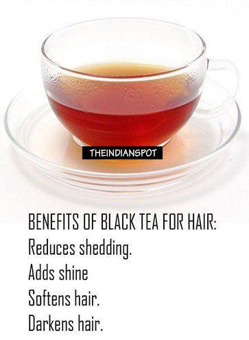 Use Black tea to add shine, softness and reduce hair shedding
