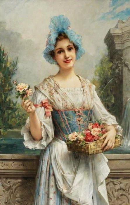 Leon Francois Comerre (French artist, 1850-1934) The Flower Seller.