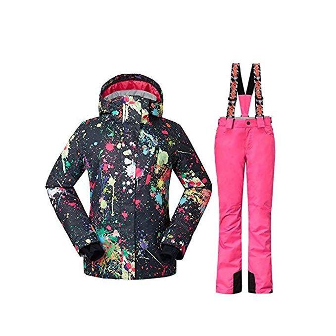 2ffffe512a GS SNOWING Women s Winter Waterproof Windproof Insulatd Snowboarding  Jackets Ski Snow Coats and Pants