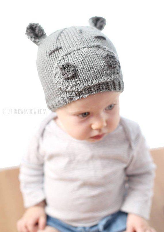 f75600f7f Baby Hippo Hat KNITTING PATTERN   Hippopotamus Hat