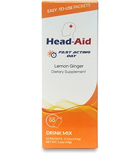 HeadAid Fast Acting Day, Lemon Ginger, 10 Count  Designed to be used while at work or in the middle of an activity to stop your headache/migraine without causing drowsiness or brain fog  Made with high quality ingredients clinically proven to reduce the intensity, duration, and frequency of migraines and headaches before they start.  First product of its kind to not only target pain from migraines but also the associated symptoms of nausea, sleep troubles, and cognitive fatigue.  First...