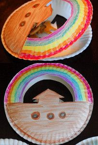 Noah's Ark Paper Plate Craft | with animal crackers inside