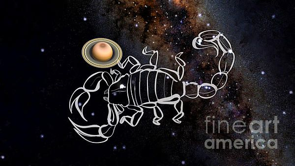 This digital artwork show Saturn  with  the Scorpius sign with the Milkyway as background, this projected image was how they were in Jan 2016