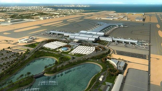 Boarding soon...an artist's impression of New Doha International Aiport, due to open next year.