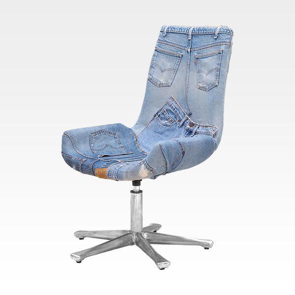 Рабочее кресло Jeans - 12 199 руб.. Вращающееся кресло без подлокотников. Обивка – реальные пошивочные детали джинсов из светло-голубого денима. Сидение, закруглённое по бокам, переходит в спинку, оснащённую механизмом регулировки высоты.