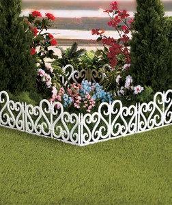 White 8 foot plastic scroll border fencing lawn yard - Plastic border for garden ...
