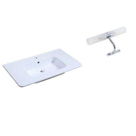 Plan vasque Happy en céramique blanc l81xL14.5xP46 cm   spot halogène