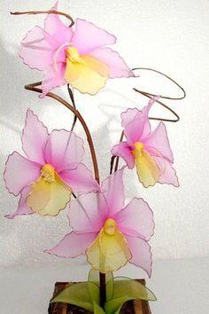 ARTESANATO FOFO: Orquidea de meia de seda