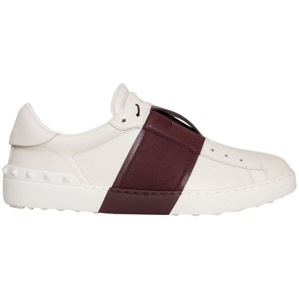 Valentino Garavani Laceless leather Open sneakers (€615) ❤ liked on Polyvore featuring men's fashion, men's shoes, men's sneakers, rosso, valentino mens sneakers, mens studded shoes, mens monk strap shoes, valentino mens shoes and mens velcro strap sneakers