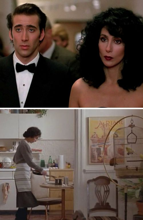 Moonstruck-One of my favorite romantic comedies of all time.  So much heart and warmth, plus a fabulous old kitchen in a great Brooklyn house.  And I liked Nick's teeth here.. I mean why get em fixed? He looked great, his grill is terrible now :(
