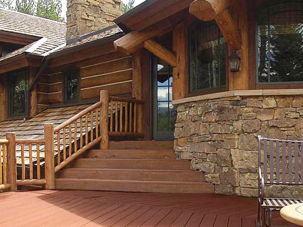 Designer decks made from natural wood composite and for Log cabin porches and decks