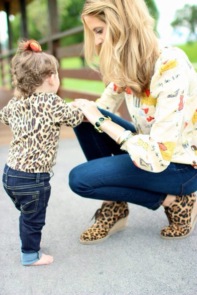 Cute Mother And Daughter Matching Outfits Leopard Print