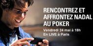 PokerStars vous permet de rencontrer Rafael Nadal et de l'affronter sur un court de tennis… pour un tournoi de poker ! http://www.kalipoker-fr.com/bonus-et-promotions/rencontrez-et-affrontez-nadal-au-poker.html