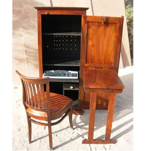 Incroyable Natural Solid Wood Computer Cabinet With Folding Table Desk That Has Ample  Storage Space. Plenty Of Storage Room For All Your Necessities, ...