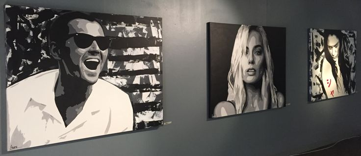 From the art exhibition round 1 in Oslo.  Artist: HALSETH Wolf of wallstreet Margot Robbie Anna of the North