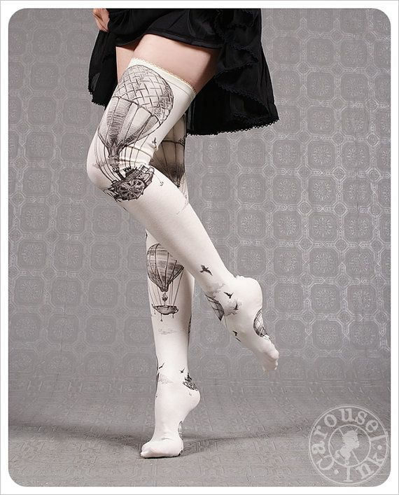 new! Ivory Thigh Highs Hot Air Balloons by Carousel Ink - thigh high socks - stockings tights - thigh highs