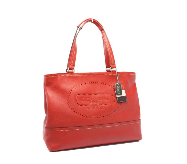 COACH 19391 Genuine Carnelian Red Leather perforated Weekend Shopper Tote purse #AuthenticCOACHluxurydesignerLimitedEdition #BucketBagSatchelShoulderBagTote