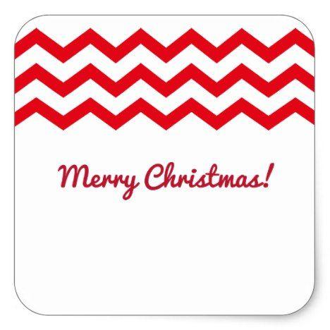 Red Chevron Christmas Gift Square Sticker