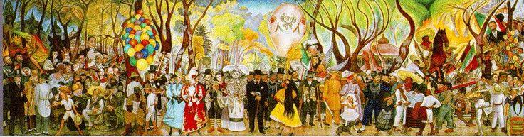 Esta obra habla mucho del significado de nuestros acontecimientos y pasado histórico.  DIEGO RIVERA (1886 -1957) SUEÑO DE UNA TARDE DOMINICAL EN LA ALAMEDA CENTRAL (1947)  Museo Mural Diego Rivera. 15 mts x 4.80 mts Fresco sobre tablero desmontable. Estilo: Realismo- Muralismo