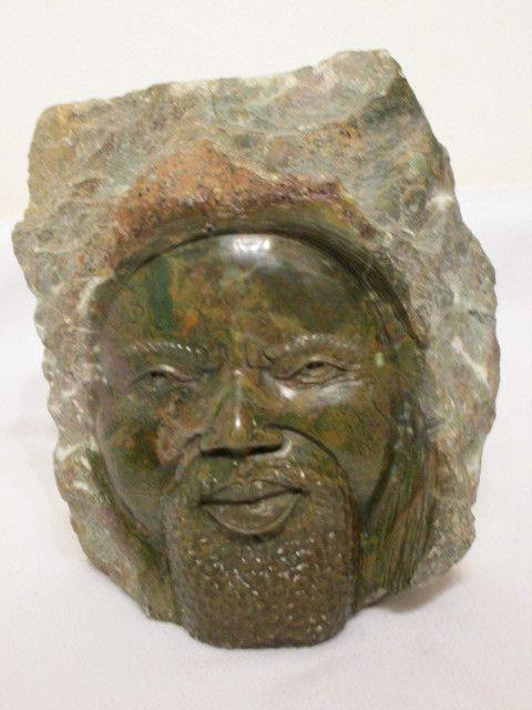 Head sculpture - Green Verdite