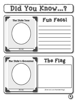 """Sample page from """"Student Report:  This Great State!""""  (Six-Page Report Template)  During this project, students research and write informatively about their state's capital city, bird, flower, tree, flag, governor, tourism, agriculture, geographic features, and location on a U.S. map.  $"""