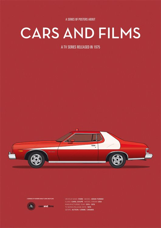starsky and hutch inspired poster by jess prudencio cars and films