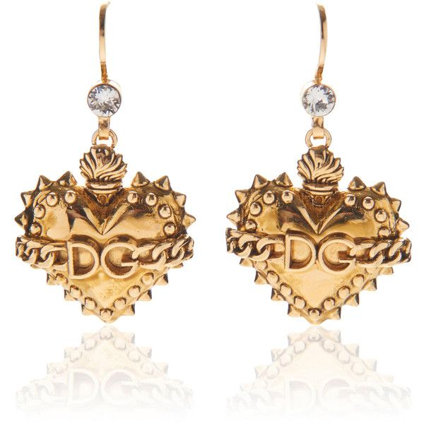 Dolce & Gabbana Heart Earrings ($375) ❤ liked on Polyvore featuring jewelry, earrings, gold, heart earrings, heart-shaped jewelry, heart jewellery, earring jewelry and heart shaped earrings