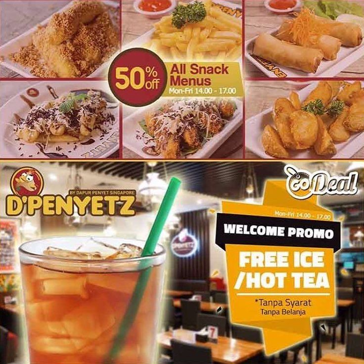 [D'Penyetz Special Promo for GoDeal Users]  Free ES TEH TANPA SYARAT / orang  Diskon 50% utk semua Menu Snack  Cabang dari penyet restaurant paling top di Asia kini memberikan promosi menarik khusus bagi pencinta D'Penyetz yang sebagai pengguna GoDeal.  1. Nikmati Gratis Welcome Drink Es Teh / Teh Panas tanpa belanja apapun  2. Diskon 50% untuk menu snack: - Chicken Nugget Kremes Rp. 16.000 - Tempe Mendoan Rp. 8.000 - Pisang Bakar Coklat Keju Rp. 10.000 - Pisang Goreng Kremes Rp. 10.000…
