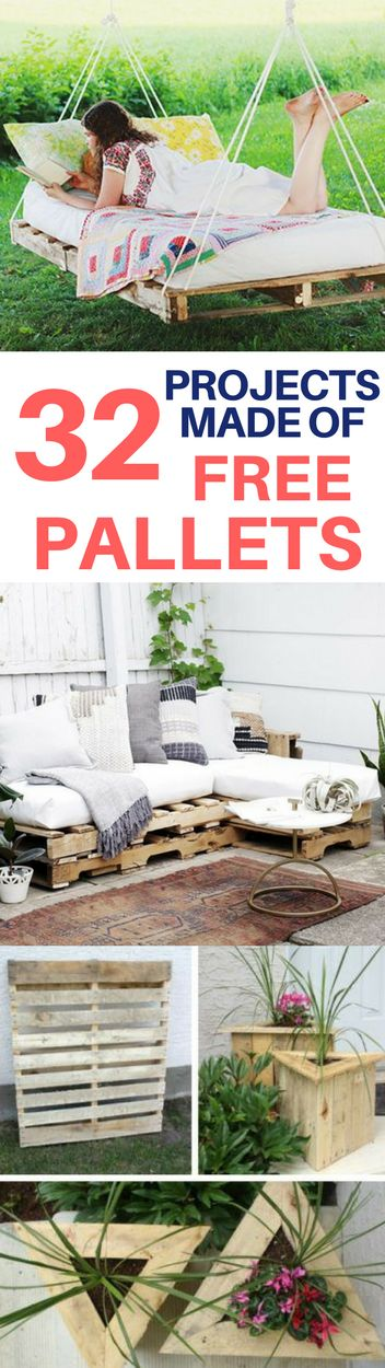 You can save so much money by making DIY furniture, wall art and more out of pallets that you can get for free! Cheap ideas for patio furniture, sofas, and planters made out of pallets.