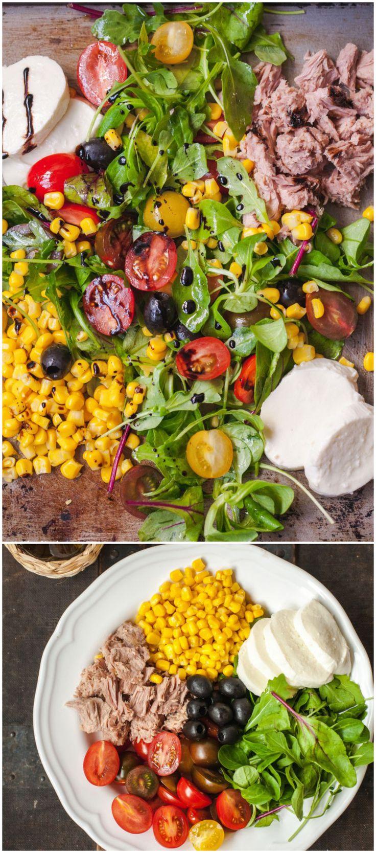 Italian Tuna and Corn Salad with Balsamic reduction.