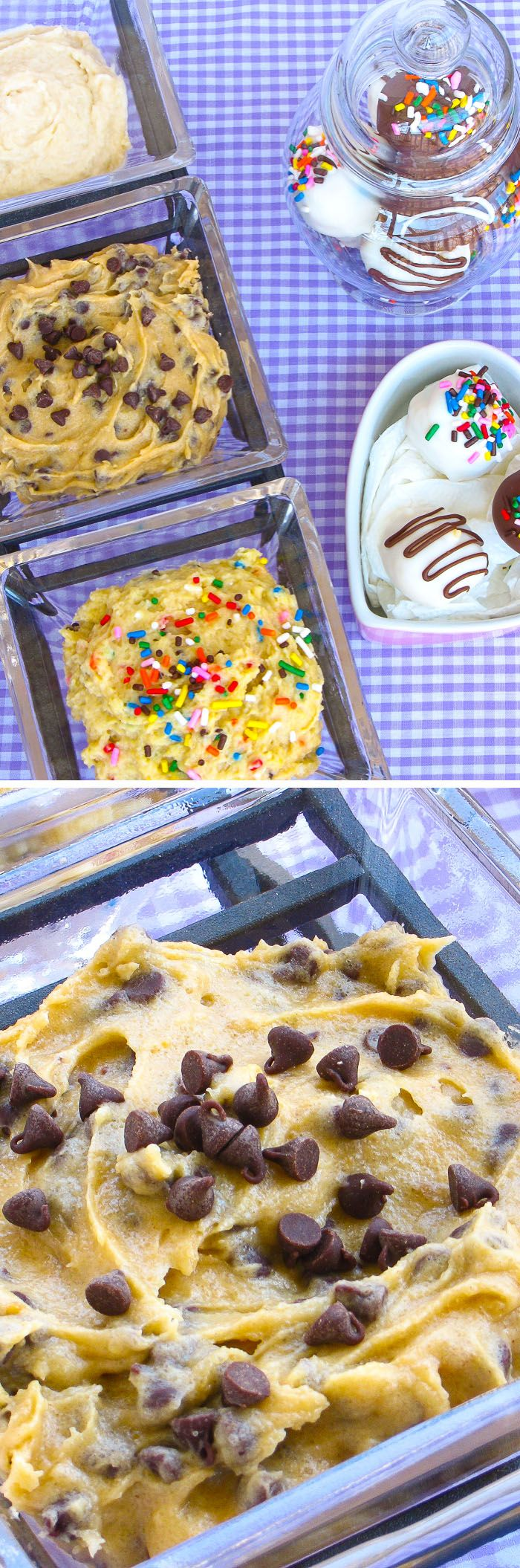 Three Safe-to-Eat Cookie Doughs: Chocolate Chip, Sugar, and Cake Batter! Eat these cookie doughs straight from the spoon. A perfect quick snack!