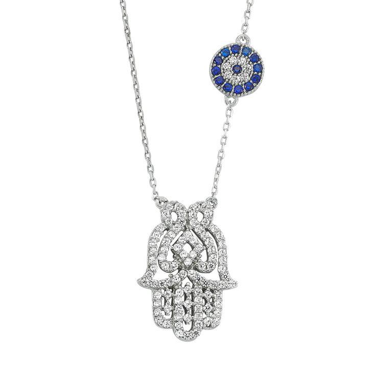 Silver Hamsa Necklace Blue Evil Eye Necklace 925 by EvilEyeGems