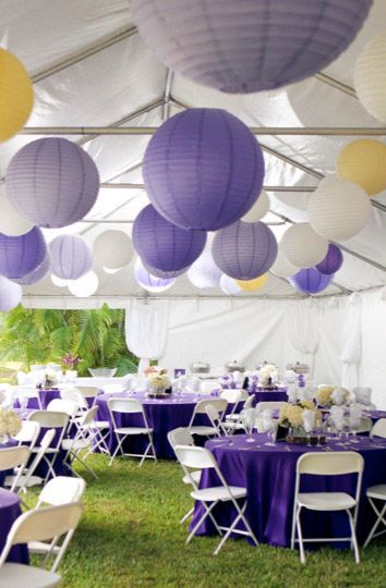 Loving these purple and lilac lanterns.  Photo by Taken Photography via Simply Peachy.  http://www.simplypeachy.com/lantern-wedding-ideas/