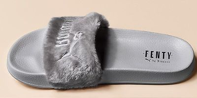 Authentic Puma Fenty Leadcat Fur Shell Slide by Rihanna grey Sandals