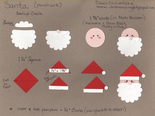 Santa clause punch art to use on a scrapbook page
