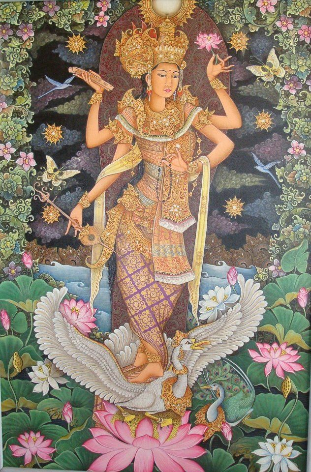 """Saraswati, Hindu goddess of knowledge and the arts. There are good reasons one of the characters in my yoga novel """"Ashram"""" is given her name."""