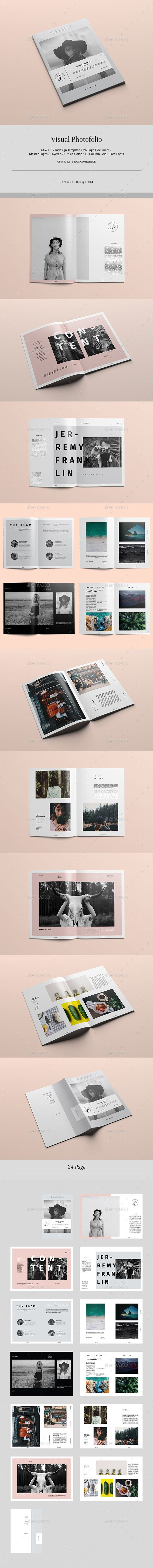Visual Photofolio Brochure Template InDesign INDD - 24 Pages, A4 & US Letter Size