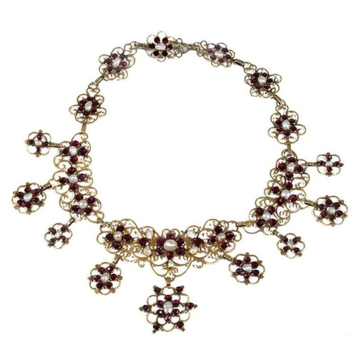 Antique 18th Century Pearl Garnet Gold Necklace  | From a unique collection of vintage drop necklaces at https://www.1stdibs.com/jewelry/necklaces/drop-necklaces/