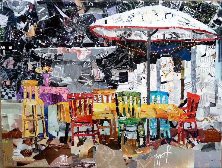 """City Life,"" a torn paper collage by Suzy Pal Powell. I discovered this while doing a Google search on another artist, Nancy Standlee (this came up as one of the results)."