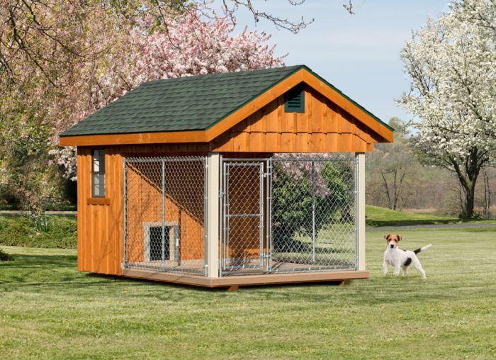Fully Assembled 8 X 12 Ft Amish 1 Run Dog Kennel Dog Houses Dog