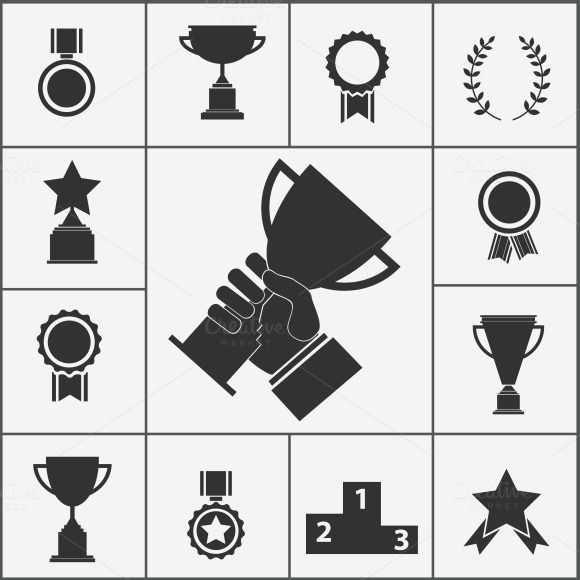 Trophy and award icons by Microvector on @creativemarket