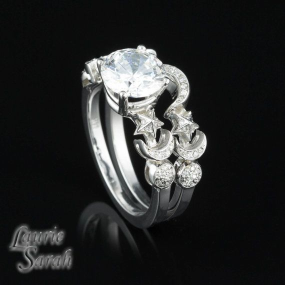 Cz Sun Moon And Stars Engagement Ring In White Gold With Matching Wedding Band I Saw This Instantly Thought Of My Friend Jodi