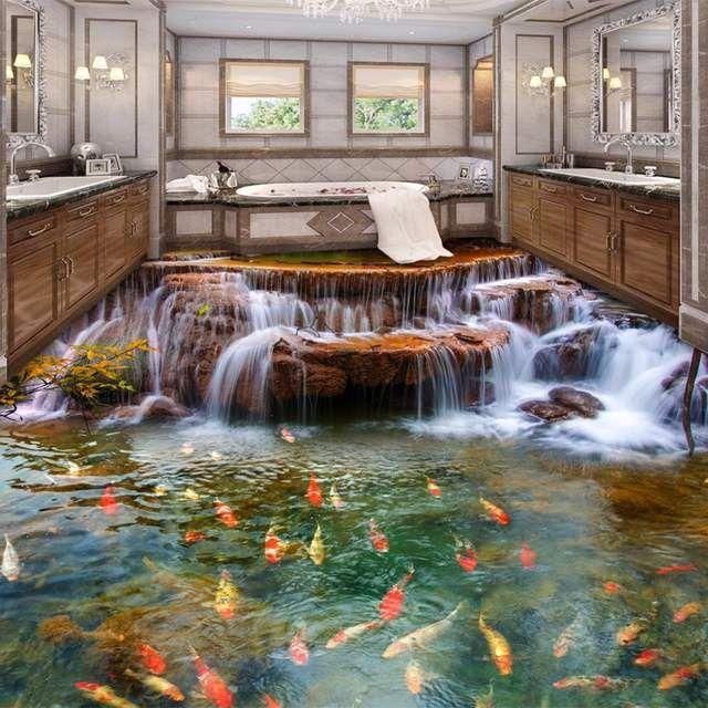 Nach 3d Boden Tapete Wasserfall Karpfen Badezimmer Boden Wandmalereien 3d Pvc Selbst Adhesive Case Di Lusso Da Sogno Case Di Design Scale Dipinte