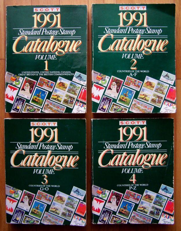 (Set of 4) - SCOTT 1991 STANDARD POSTAGE STAMP CATALOGUE – Vol. 1,2,3,4 (catalog - http://stamps.goshoppins.com/stamp-publications-supplies/set-of-4-scott-1991-standard-postage-stamp-catalogue-vol-1234-catalog/