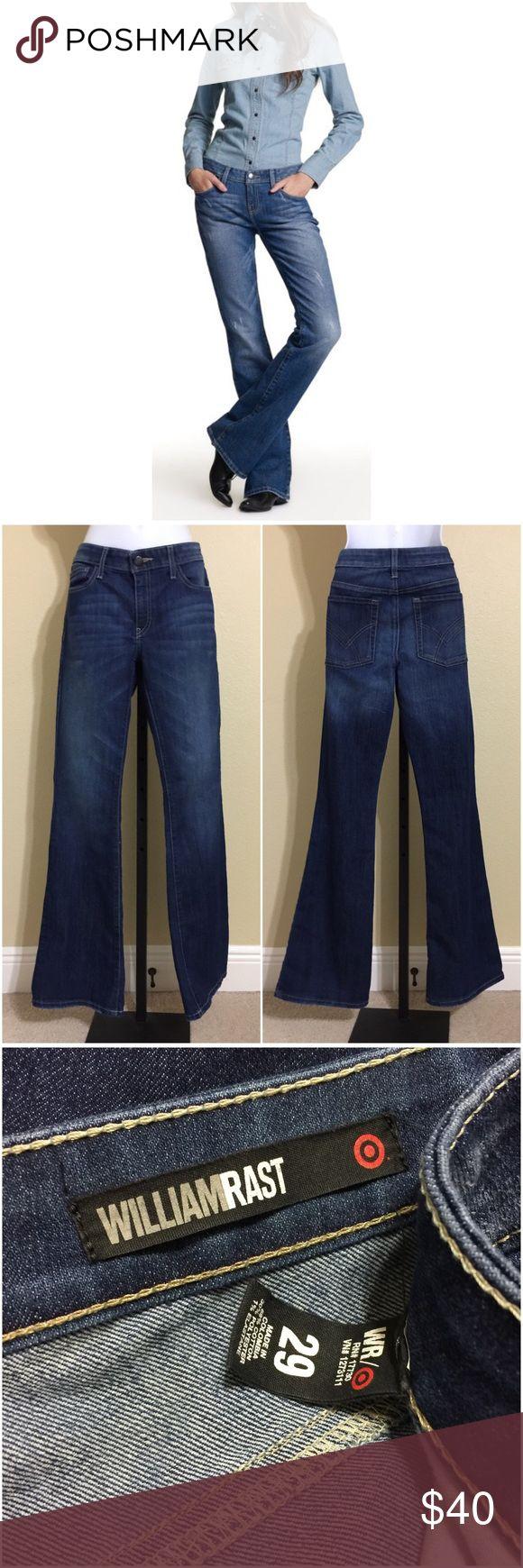 "William Rast For Target Jeans Size 29 William Rast For Target • Flare Leg Jeans • 5 Pocket • Dark Rinse • 69% Cotton 30% Polyester 1% Elastane • Size 29 • 33"" Length • 8.5"" Rise • 32"" Waist • 38"" Hips • 20"" Cuff William Rast Jeans Flare & Wide Leg"