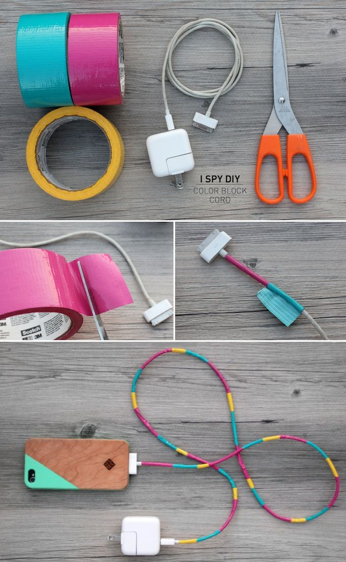 color block phone charger - wrap the cord in colored duct tape