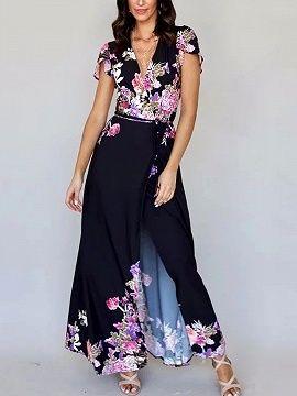 4fa172d8fe398 Shop Black Plunge Print Detail Thigh Split Maxi Dress from choies.com .Free  shipping Worldwide.$36.99