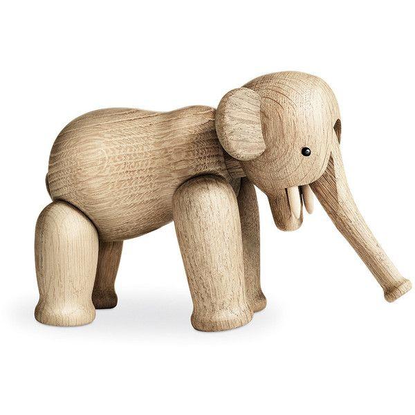 Kay Bojesen Elephant Wooden Figurine - Oak found on Polyvore